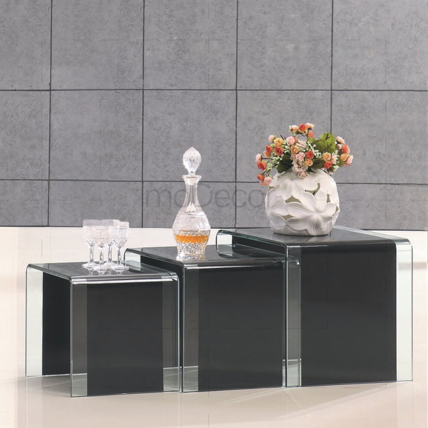 3-Nested-Black-Glass-Coffee-Side-Tables-Clear-Strip-on-Sides (Image 2 of 10)