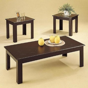 3 Piece Black Wood Veneer Coffee Table Set With Coffee Table And 2 Side Tables (View 3 of 10)
