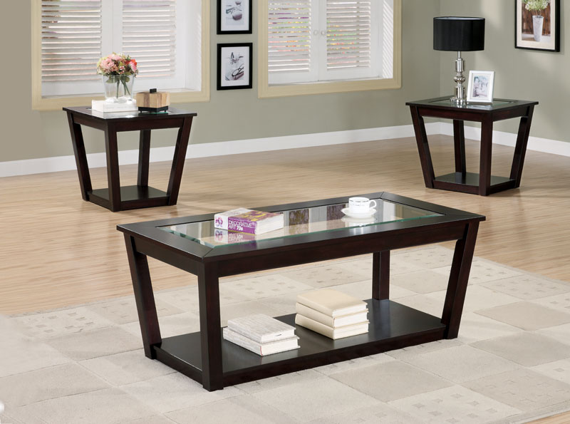 3pc-coffee-table-and-end-tables-set-with-marble-top-in-black-finish-3-sets-on-living-room-wood-furnish (Image 4 of 10)