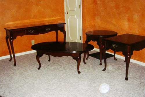 4-sets-item-wood-with-glass-on-top-Cherry-Wood-Sofa-Table (Image 1 of 9)