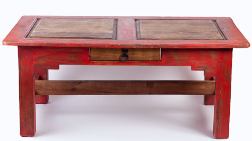 Acuna Rustic Coffee Table Red Stained Coffe Table Square Shape Images Gallery (View 2 of 9)