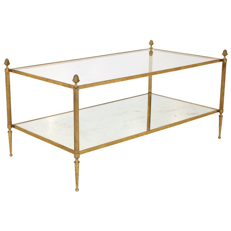Antique Brass And Glass Coffee Table Modern Design Sofa Table Contemporary Wooden (Image 5 of 10)