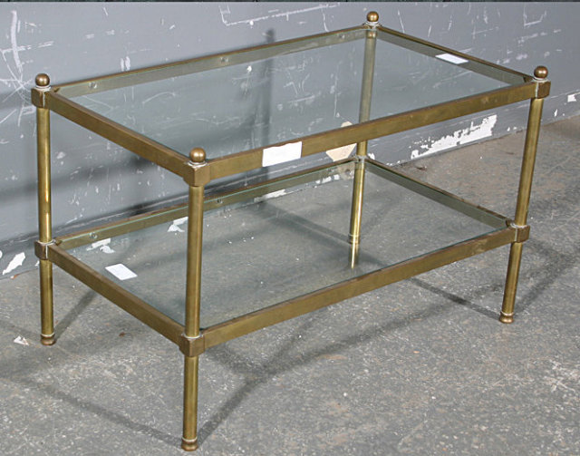 Antique Brass And Glass Coffee Table This Is An Outstanding And Rare Bagues Style French Coffee Table In Tubular Brass With Its Original Finish. The T (Image 7 of 10)