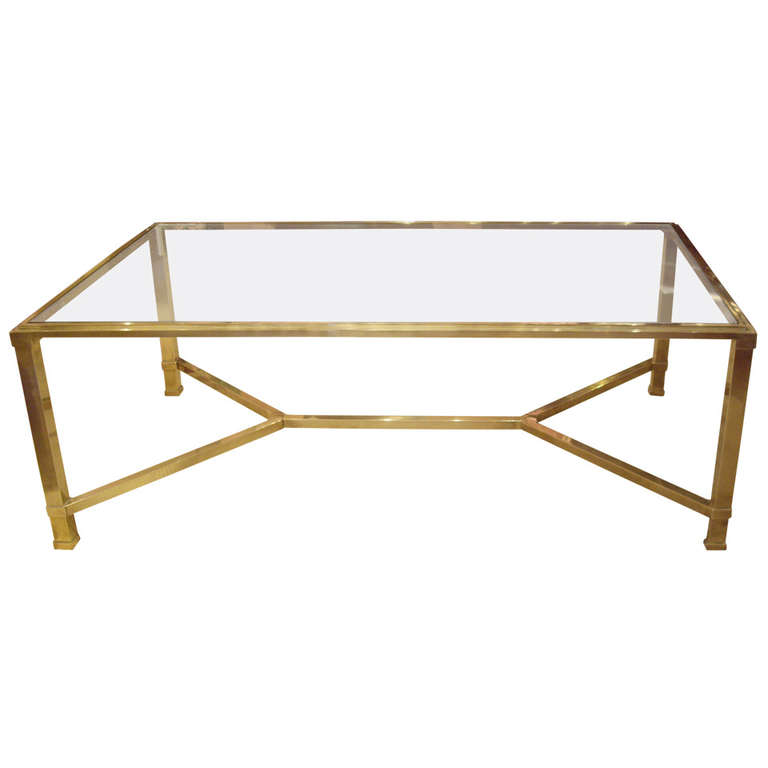 Antique Brass And Glass Coffee Table The Perfect Size To Fit With One Of Our Younger Sectional Sofas (Image 6 of 10)