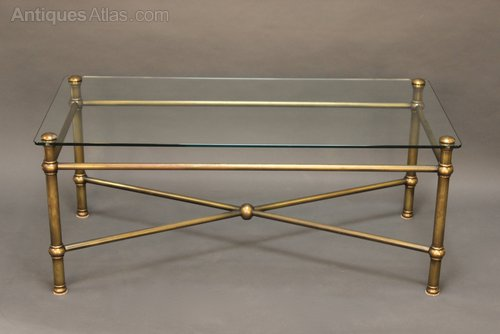 Antique Brass And Glass Coffee Table You Keep Your Things Organized And The Table Top Clear (Image 10 of 10)