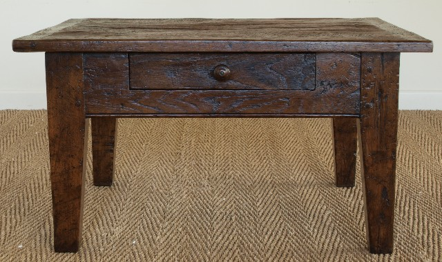 Antique Oak Small Rustic French Coffee Table Dark Brown Color Furnish  Square (Image 1 Of