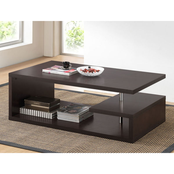 Baxton Studio Lindy Dark Modern Wood Coffee Table Reclaimed Metal Mid Century Round Natural Diy All Modern Coffee Tables Overstock (Image 2 of 10)