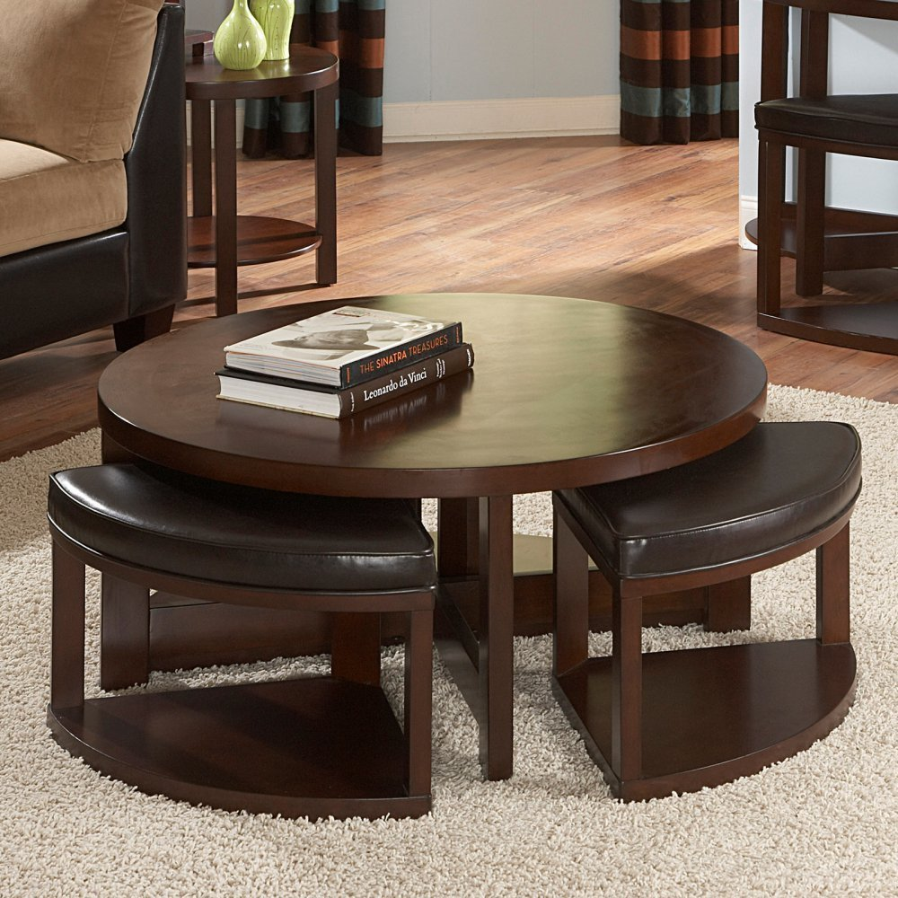 Beautiful Round Brown Wood Coffee Table With 4 Ottomans Underneath (View 2 of 10)