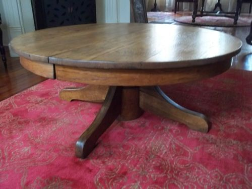 Beautiful Vintage Rustic Round 42 Oak Coffee Table Made With Solid Reclaim Wood (View 2 of 10)