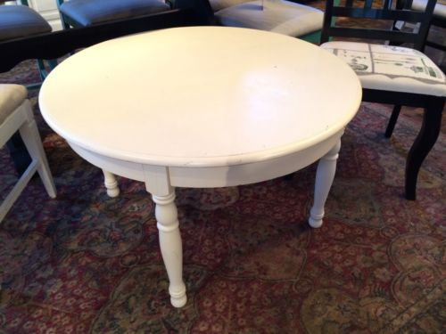 Beautiful Vintage Rustic Round Vintage White Coffee Table Made With Solid Reclaim Wood Image 9