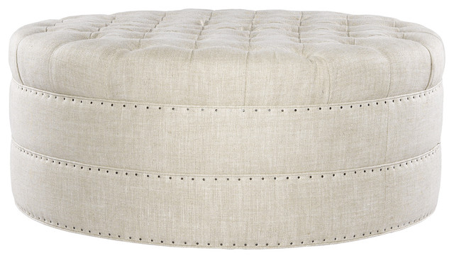 Bensington Tufted Round Ottoman Linen Contemporary Footstools And Ottomans New York (Image 2 of 10)