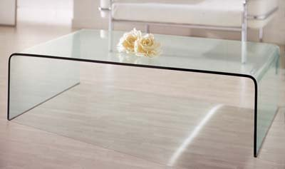 Bent Glass Coffee Table Also Glass Material Increases The Space Of All Rooms. This Table Will Be Perfect For Small Living Room Or Living Room (Image 2 of 9)