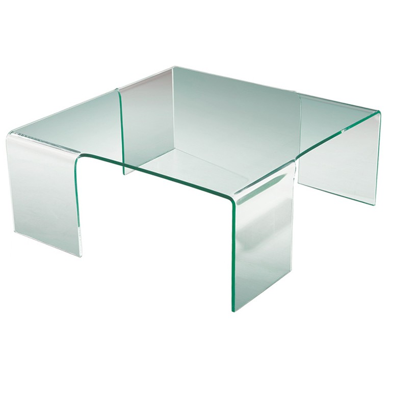 Bent Glass Coffee Table Clear Rectangle Shape Glass And Stainless Steel Coffee Table Contemporary Modern Designer (Image 3 of 9)