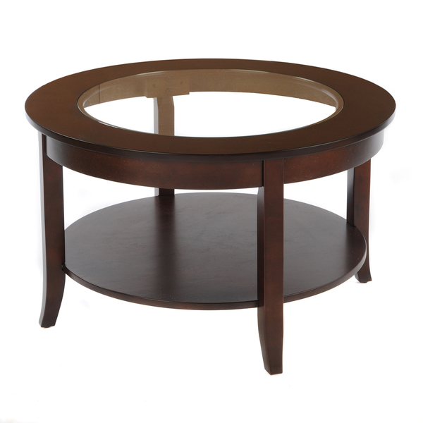 Bianco Collection Espresso 30 Inch Round Glass Top Coffee Table With Glass On Top (View 4 of 9)