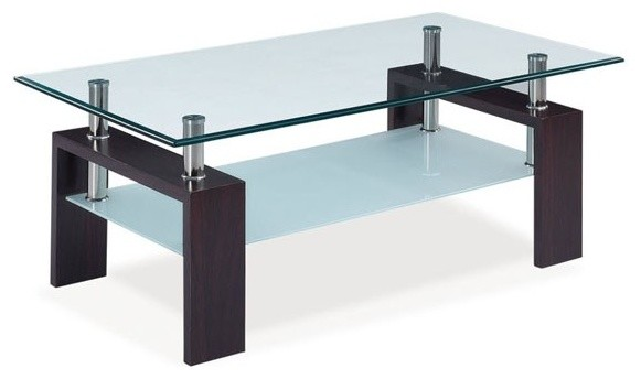 Black And Glass Coffee Table Modern Clear Bent Glass Rectangular Coffee Table Strada Modern (View 7 of 10)