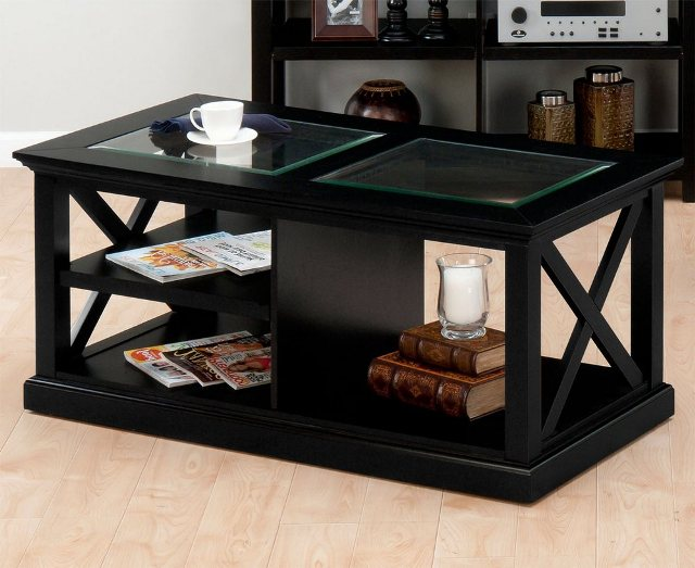 Black Coffee Table With Glass A Glass Table
