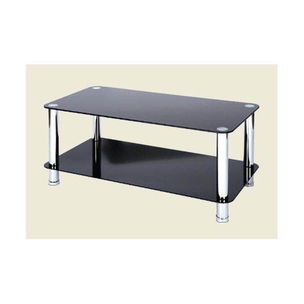 Black Glass Coffee Table Cheap Crystal Black Glass And Chrome Coffee Table For Sale Online (Image 3 of 10)