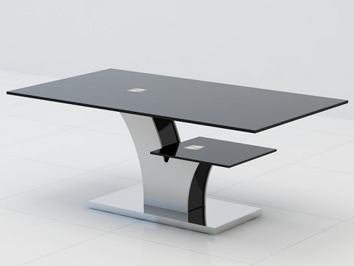 Black Glass Coffee Table With Black Legs Modern Clear Bent Glass Rectangular Coffee Table Strada Modern Interesting Glass Coffee Table Can Be Of Unusua (View 8 of 10)