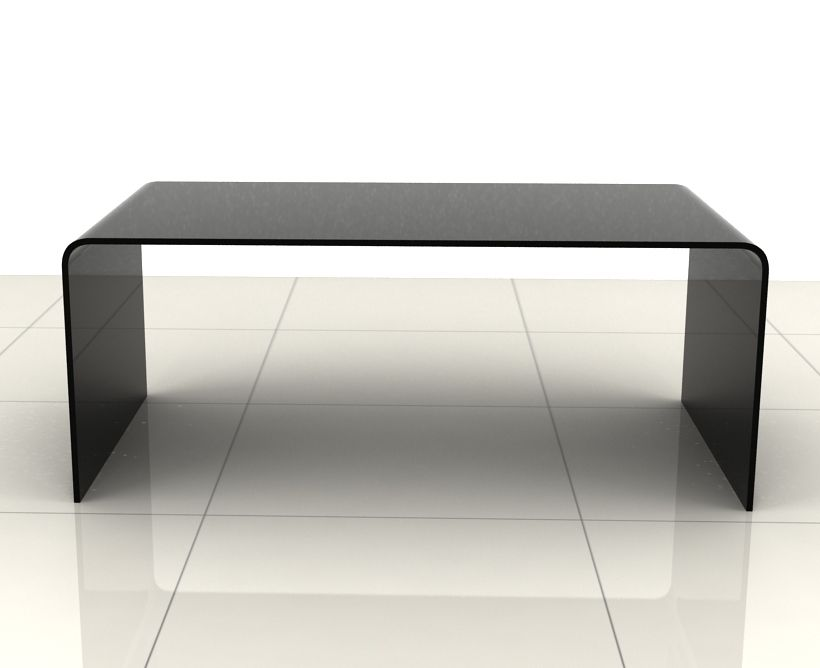 Black-Leather-Coffee-Table-Ottoman-Rectangular-Curved-Edge-Bent-Glass-Coffee-Table-in-Black-or-Clear (Image 6 of 10)