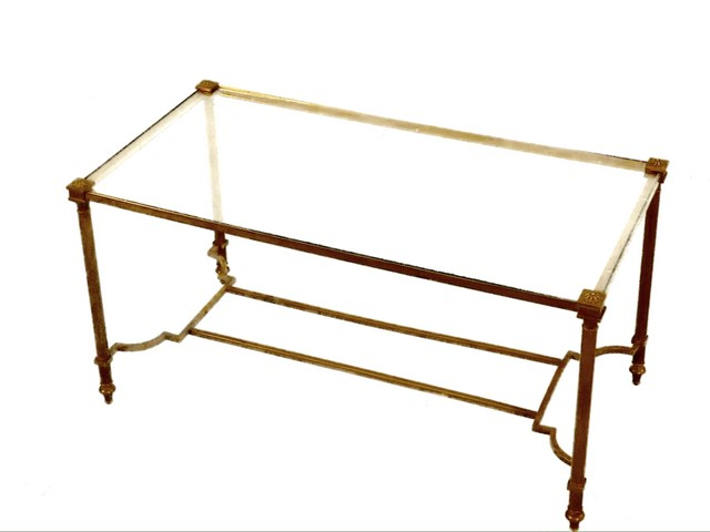 Bronze Glass Coffee Table The Top Features A Grid That Can Also Come With Glass Stone Or Wood (Image 9 of 10)