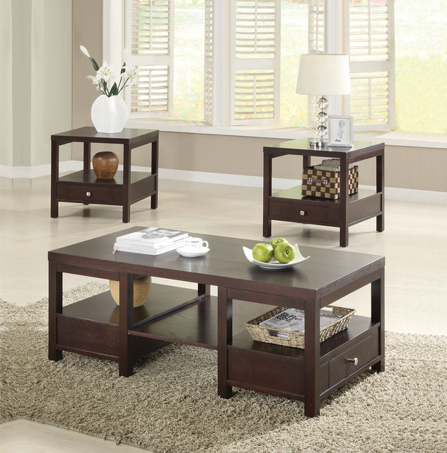 Brooklyn Espresso 3 PC Coffee And End Table Set Contemporary Coffee Tables On Living Room With Carpet  (Image 2 of 10)