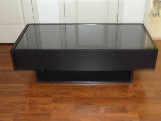 Buy Modern Coffee Table Ramvik Coffee Table With Glass Protection Cover And 2 Drawers (View 4 of 9)