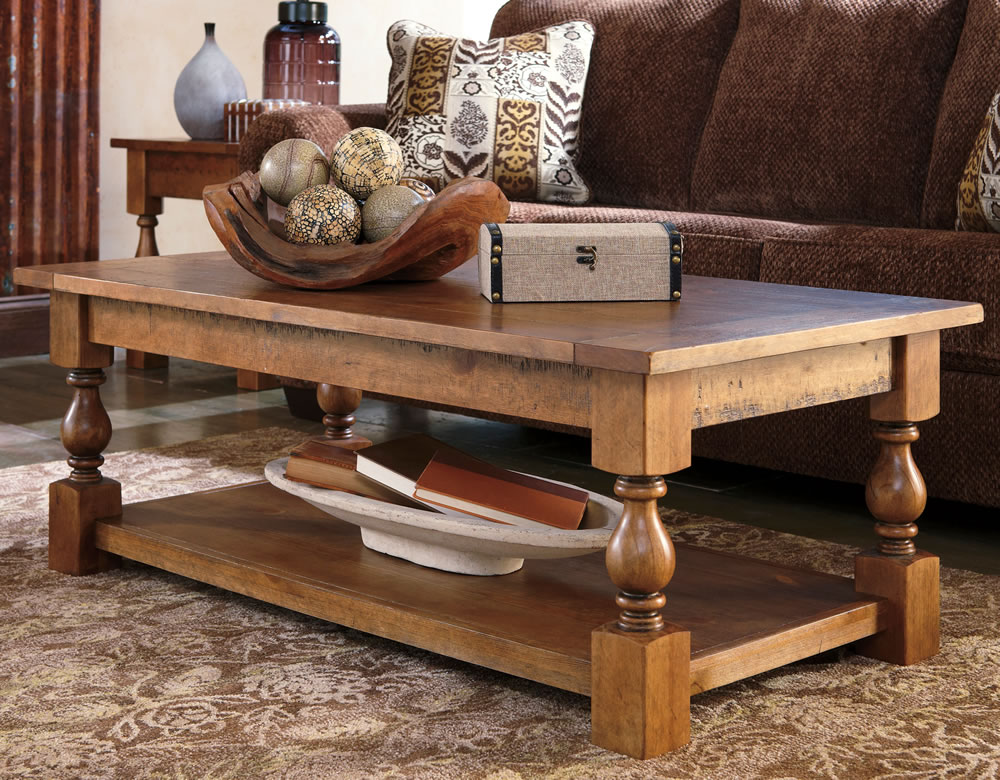 Casual Rustic Wood Coffee Table With Bottom Shelf Quality Solid Wood Coffee  Table 3 (Image