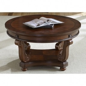 Cherry Round Coffee Table With Book On Top Images Galley (View 2 of 10)