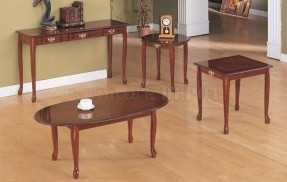 Cherry-Wood-Finish-Traditional-Classic-3PC-Coffee-Table-Set (Image 5 of 9)