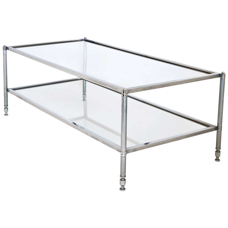Chrome-Glass-Coffee-Table-Modern-clear-bent-glass-rectangular-coffee-table-Strada-modern (Image 7 of 10)