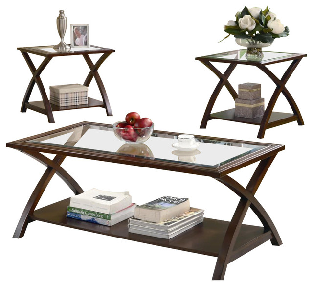 Coaster 3 Piece Occasional Table Sets Coffee And End Table Set In Nut Brown Modern 3 Sets Wood Furnish (View 5 of 10)