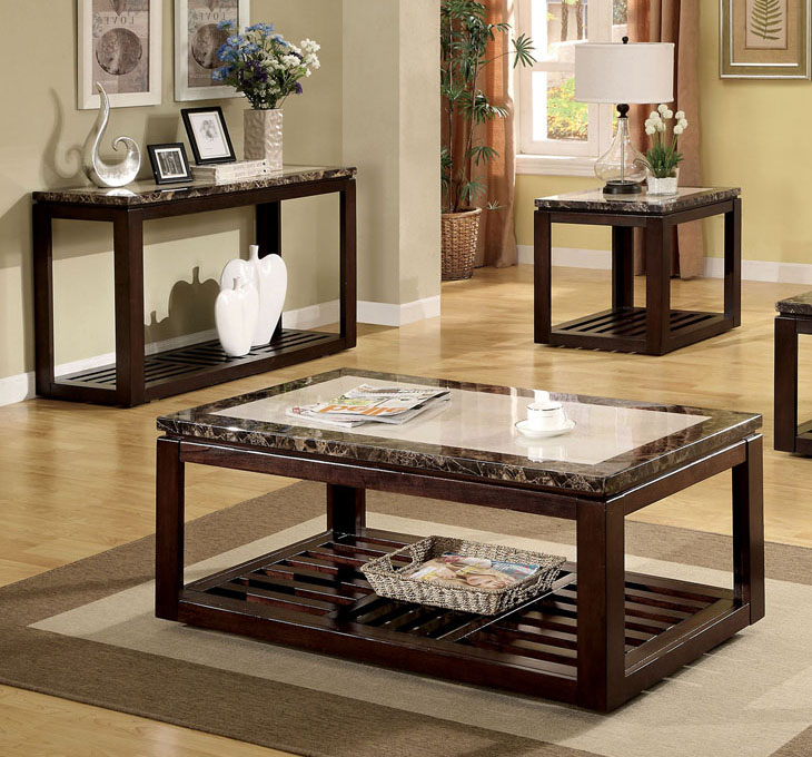 Coffee-And-Side-Table-Set-Faux-marble-dark-walnut-modern-coffee-table (Image 8 of 10)