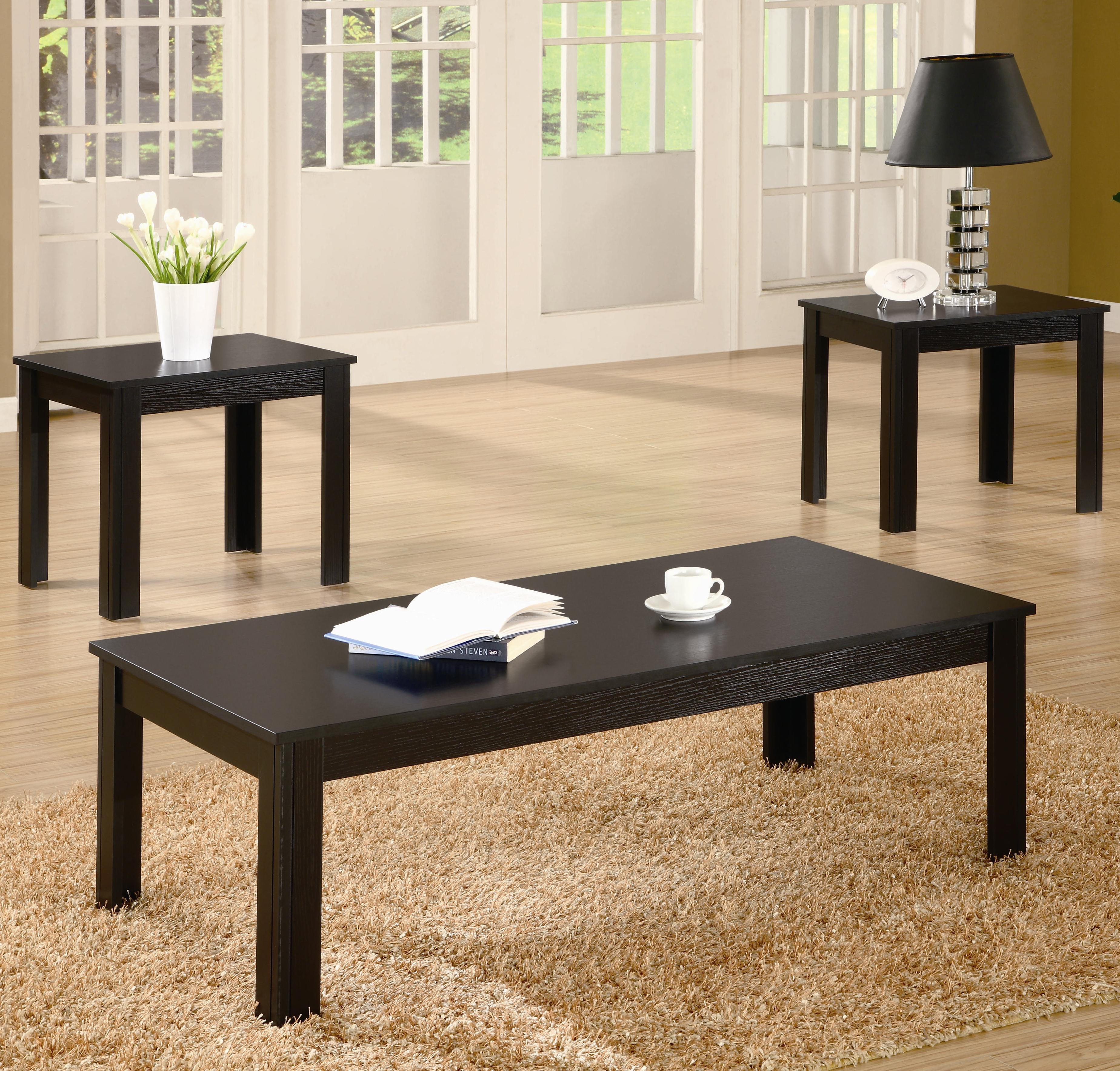 Coffee Table 3 Piece Table Set 700225 Black 3 Piece Occasional Table Set Black 3 Set Square Shape (Image 3 of 10)