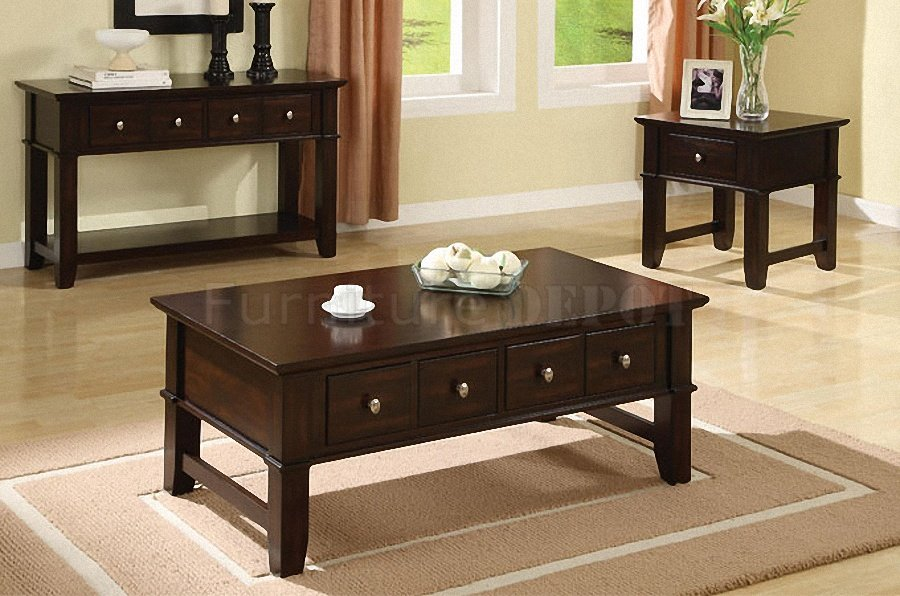 Coffee-Table-And-End-Table-Sets-Dark-Espresso-Finish-Coffee-Console-End-Table-Set-with-drawers (Image 3 of 9)