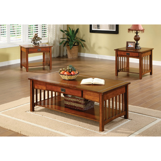Coffee Table And End Table Sets Furniture Of America Nash Mission Style 3 Piece Antique Oak Finish Coffee End Table (View 4 of 9)