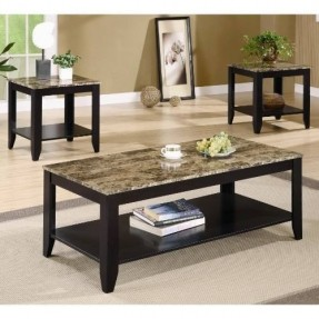 Coffee Table And Side Table Set 3 Sets On Living Room Square Wood Furnish Glass On Top Table On Carpet (View 6 of 10)