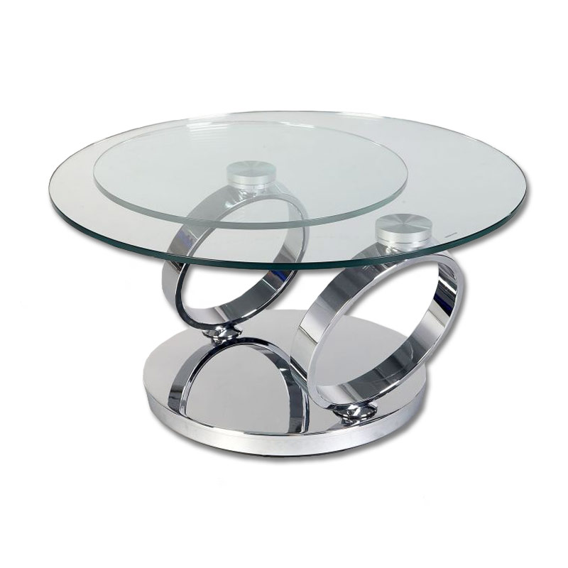 Coffee Table Glass Round Coffee Tables Levels Swivel Round Glass Coffee Table (Image 2 of 10)