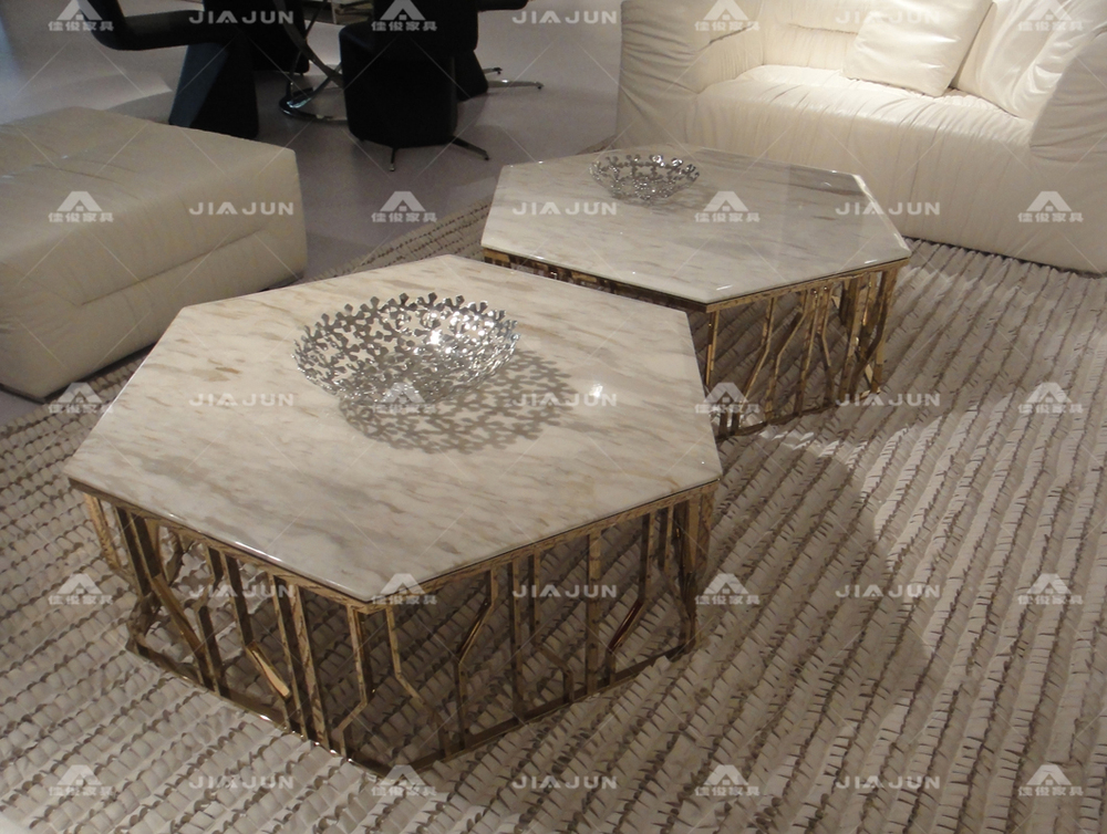 Coffee-Table-Modern-Design-Combination-of-stainless-steel-rose-gold-hexagon-marble-glass-coffee-table-stylish-minimalist-luxury-KTV-6131 (Image 4 of 10)