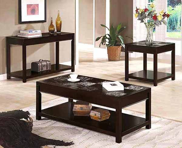 Contemporary Coffee Table Sets Contemporary Coffee Table CO 028 With 3 Sets Wood Furnish (Image 3 of 8)