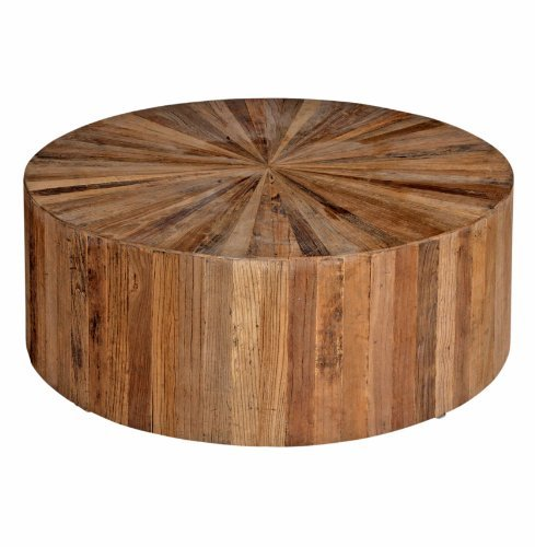 Cyrano Reclaimed Wood Solid Round Drum Modern Eco Coffee Table Cheap Round  Coffee Table (Image