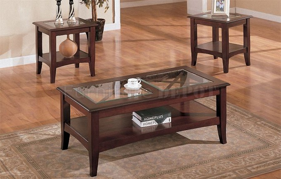 Dark Cherry Stylish 3PC Coffee Table Set With Glass Tops 3 Set Wood Furnish Squar Shape Table (Image 8 of 10)