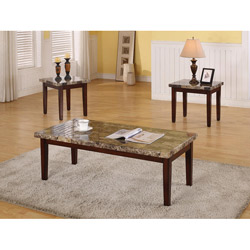 Dark Faux Marble 3 Piece Coffee Table Set (Image 5 of 10)
