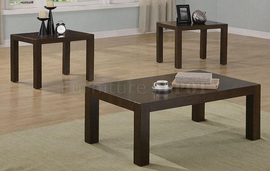 Dark Wood Coffee Table Sets Dark Wood Finish Elegant Modern 3pc Coffee Table Set (View 4 of 10)