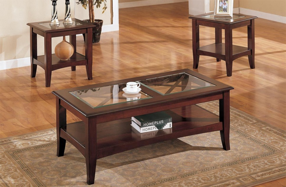 Dark Wood Coffee Table With Glass Top All