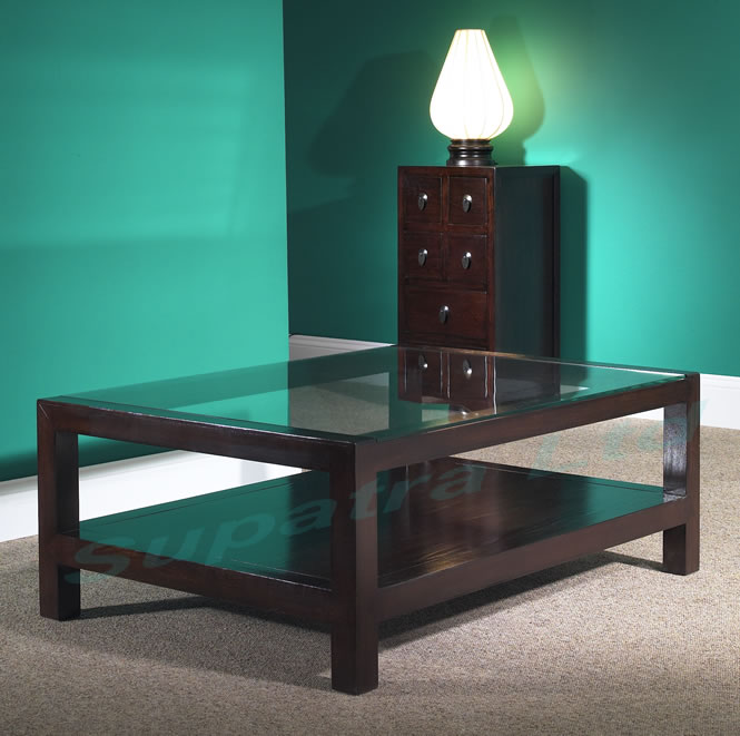 Dark Wood Coffee Table With Glass Top Use The Largest As A Coffee Table Or Group Them For A Graphic Display (View 7 of 9)