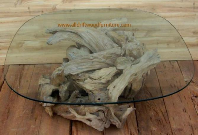 Driftwood Glass Coffee Table Industrial Style Rustic Wood Furniture Best Professionally Designed Good Luck To All Those Who Try (View 4 of 10)