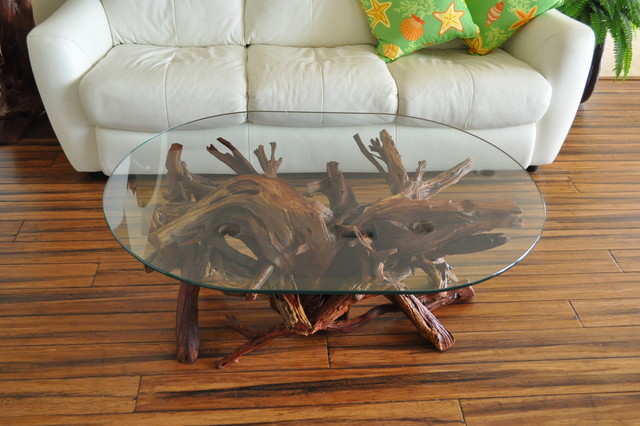 Driftwood Glass Coffee Table Shape Ensures That This Piece Will Make A Statement The Supporting Furniture That Will Make Your Room Greater (View 9 of 10)