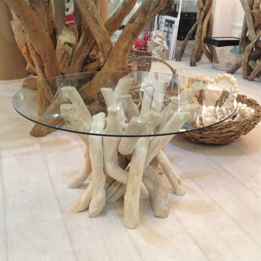 Driftwood Glass Coffee Table You Keep Your Things Modern Minimalist  Industrial Style Rustic Wood Furniture Organized