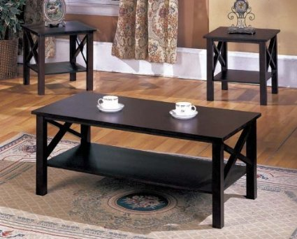 End Tables And Coffee Tables Sets Brand 3 Pc. Cherry Finish Wood X Style Casual Coffee Table 2 End (Image 2 of 9)