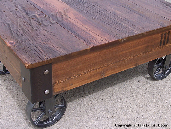 Factory-Cart-Coffe-Table-with-Wheels-on-Corners-Reclaimed-Wood-Industrial-Rustic-Coffee-Table (Image 3 of 10)